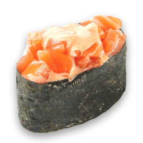 Суши Гункан острый с лососем